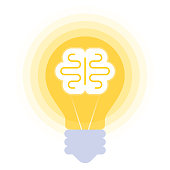 Human brain in the bulb. Vector flat illustration of mind symbol in the lamp balloon. The inspiration, imagination, innovation, creativity, decision, solution concept icon isolated on white background