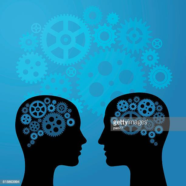 Human Brain with Gears on head of Woman and Man