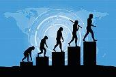 Black silhouettes of Darwin human evolution - modern style.