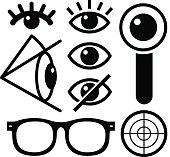 Human eye icons black on white, lens, eyewear, survaillance.
