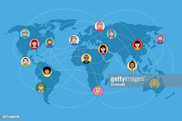 Die Gesichter auf einer Weltkarte Netzwerk. Social-media-Konzept.