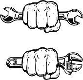 Human fist with wrench. Design element for poster, emblem, sign, badge. Vector illustration