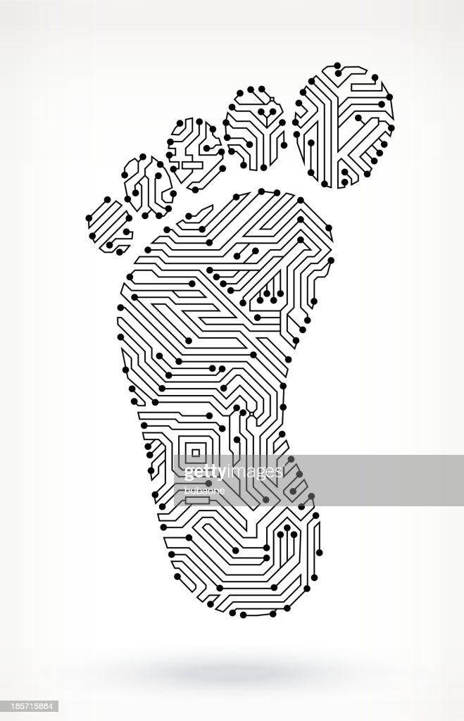 human foot print on circuit board vector art