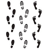 Vector art: human footprints icon set.