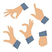 Human hand set on a white background. Vector flat illustration of man hands in various situations. Vector infographic elements for web design, internet, presentation, brochure, booklet.