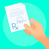 Human hand holds rx prescription. Flat illustration of doctor's hand holding pharmaceutical document. Medicine, medical exam, diagnosis concept. Vector design element for web, internet, presentation