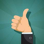 Human hand with thumb up. Customer feedback concept. Stock vector flat graphics.