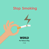 Human hands and broken cigarette icon with Quit Tobacco vector   design template.May 31st World no tobacco day.No Smoking Day.No Tobacco Day Awareness Idea Campaign for Poster,Brochure,Abstract backgr