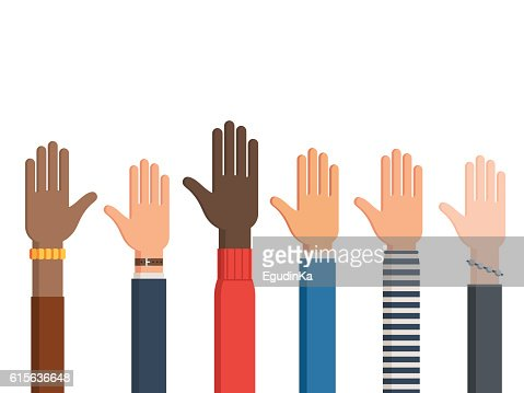 Human hands and one left hand : stock vector