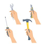 Human hands hold small tools: hammer, spanner, screwdriver, knife. Flat illustration of male and female hands with construction and renovation home maintenance instrument. Vector design element set.