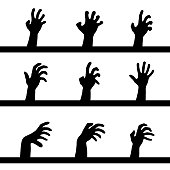 Set of nine different zombie black hands silhouettes isolated on white background