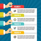 Human hands with numbered blocks - infographic business concept - vector concept illustration in flat style design for creative projects. Infographic segments. Infographic blocks. Numbered options.