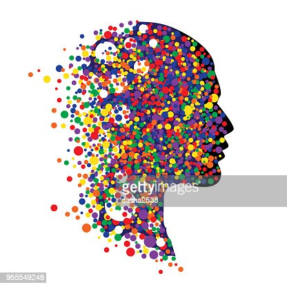 Human head isolated on white. Abstract vector illustration of face  with colorful circle : stock vector
