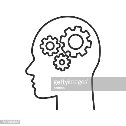 Human head with cogwheels inside icon : stock vector