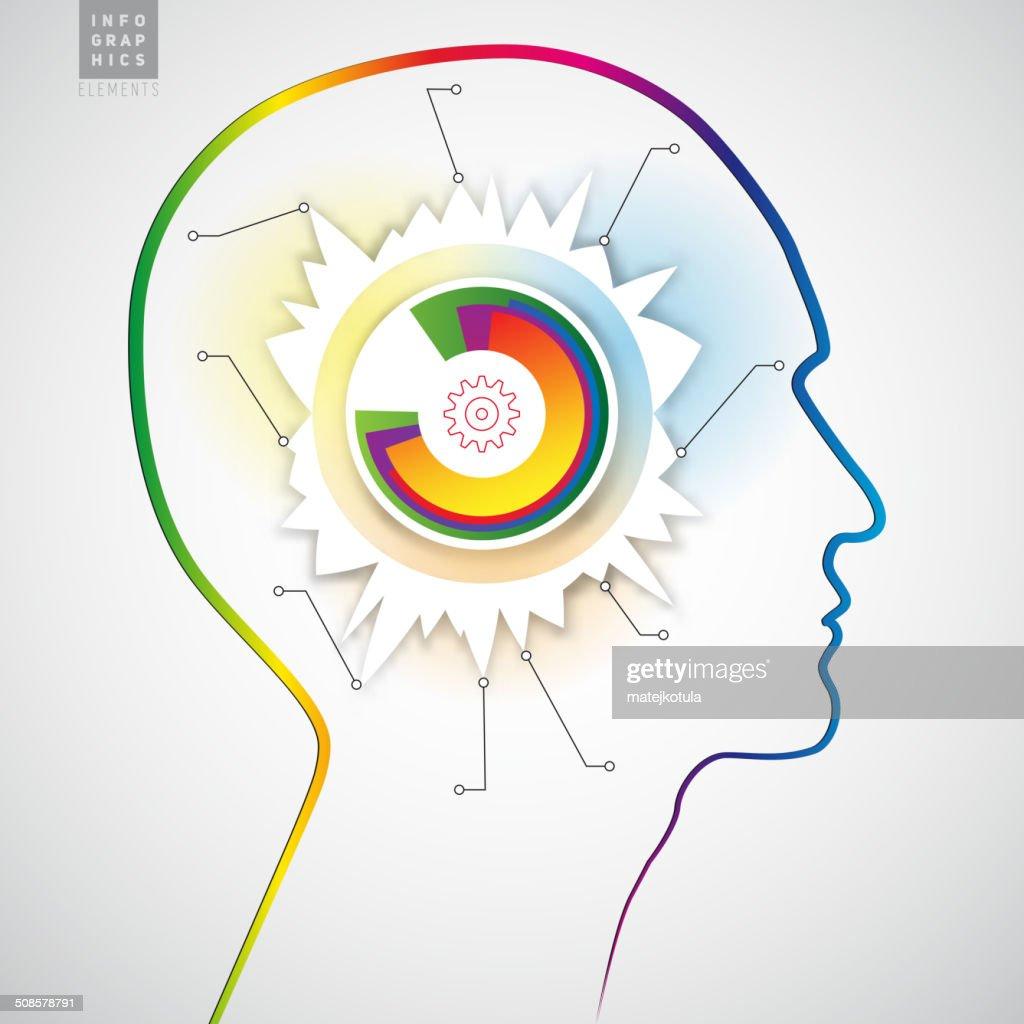 Human head with diagram infographics - symbol Freedom : Vector Art