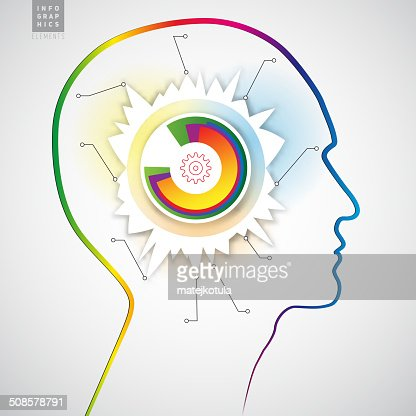 Human head with diagram infographics - symbol Freedom : Vector Art