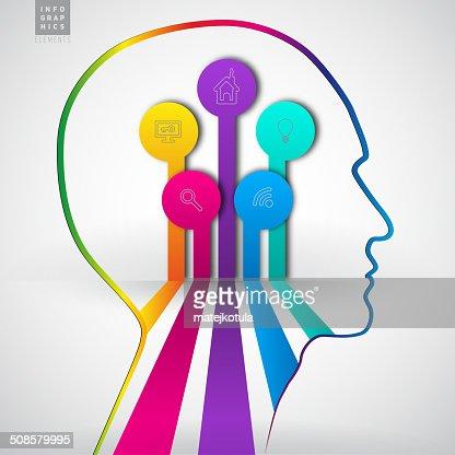 Menschlicher Kopf mit Diagramm Infografiken-symbol Freiheit : Vektorgrafik