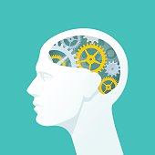 Flat illustration of human head. The concept of functioning of the human brain.