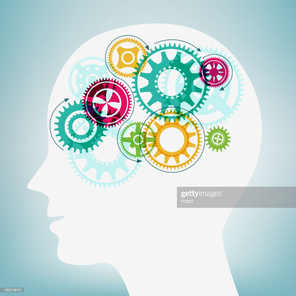 Human Head with Moving Gears : Vector Art