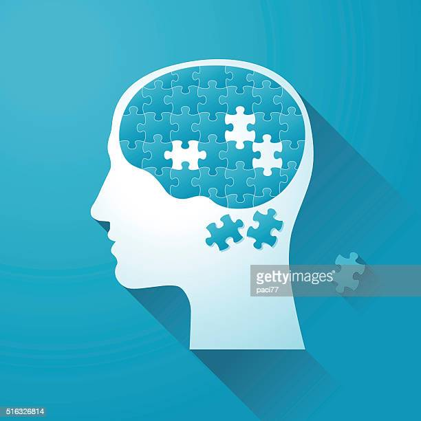 Human head with Puzzle Brain