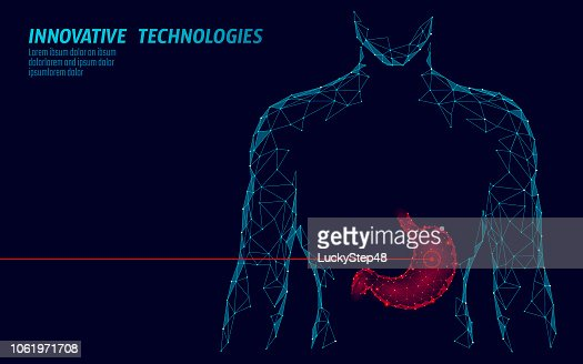 Human healthy medicine drug treatment stomach. Internal digestion organ. Low poly connected dots gray white triangle future technology design background vector medicine illustration : stock vector