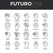 Modern thin line icons set of human mind process, brain features and emotions. Premium quality outline symbol collection. Simple mono linear pictogram pack. Stroke vector symbol concept for web graphi