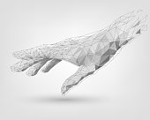 Polygonal mesh white human hand, technology, modeling, robot arm