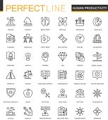Human productivity thin line web icons set. Task concentration outline stroke icons design