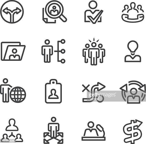 Human Resource and Business Strategy Icons - Line Series