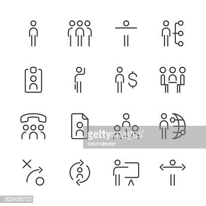 Human Resource Management Icons Set 1 Black Line Series