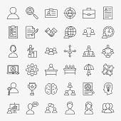 Human Resources Line Icons Set. Vector Thin Outline Management Symbols.