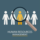 Human Resources Management. Candidate selection illustration. Magnifier with people silhouettes. Vector
