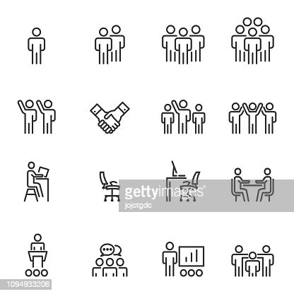 Human Resources Management Icons Line Vector illustration : stock vector