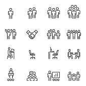 Human Resources Management Icons Line Vector illustration
