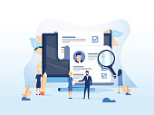 Human Resources, Recruitment Concept for web page, banner presentation, social media, documents cards and posters. Vector illustration HR, hiring, application form for employment, Looking for talent