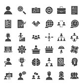 Human Resources Solid Web Icons. Vector Set of Management Glyphs.
