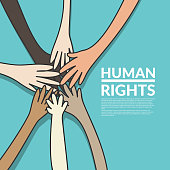 human rights and unity concept. young multi nationality people putting their hands stack together. vector illustration, flat design