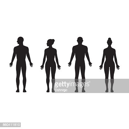 Human silhouette male and female, man and woman realistic black isolated vector icon set : Vector Art