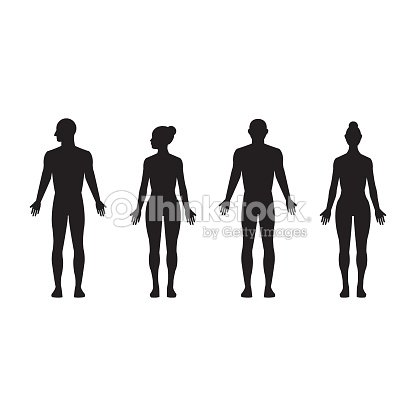Human silhouette male and female, man and woman realistic black isolated vector icon set : arte vetorial