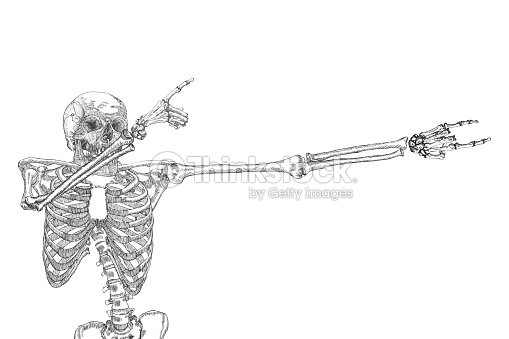 human skeleton dancing dab perform dabbing move gesture posing on