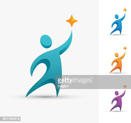 Human symbol with star. : stock vector
