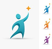 Human icon with star. Leader, winner, victory, success or successful people symbol.