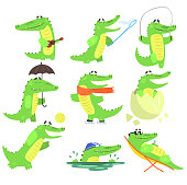 Humanized Crocodile Character Every Day Activities Collection Of Illustrations. Flat Bright Color Isolated Funny Alligators In Different Situations On White Background,