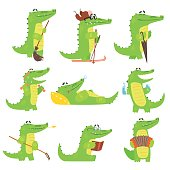 Humanized Crocodile Character Every Day Activities Set Of Illustrations. Flat Bright Color Isolated Funny Alligators In Different Situations On White Background,