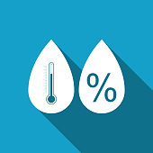 Humidity icon isolated with long shadow. Weather and meteorology, thermometer symbol. Flat design. Vector Illustration