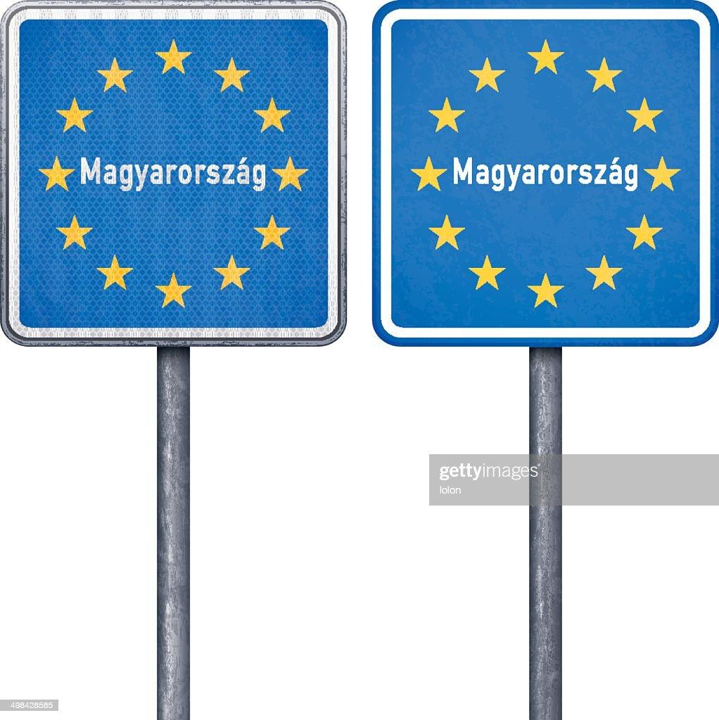 hungarian border road sign with european flag vector art getty