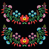 Vector background - traditional pattern from Hungary isolated on black