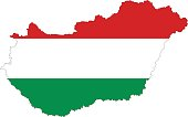 vector illustration of Hungary map and flag