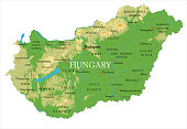 Highly detailed physical map of the Hungary, in vector format,with all the relief forms,regions and big cities.