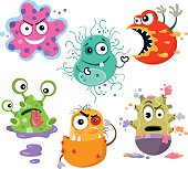 A vector cartoon of six hungry bacteria ready to go to work.